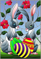 Illustration in stained glass style for Easter holiday, two rabbits and Easter painted eggs on a background of tree branches with flowers