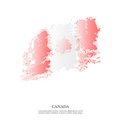 Canada flag with halftone effect, grunge texture. Isolated on white background. Vector illustration.