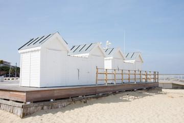 wood hut on sand beach in Arcachon France coast