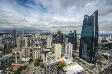Aerial view of the modern skyline of Panama City , Panama