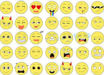 Set of funny smiles, web icons, vector