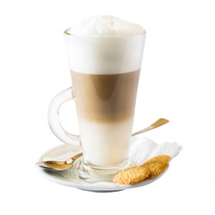 Cappuccino in a glass Cup with cookies. Isolated