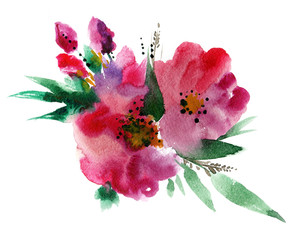 Flowers watercolor illustration. Manual composition for Mother's Day, wedding, birthday, Easter, Valentine's Day. Spring and summer background.