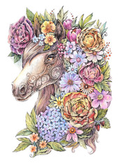 Drawing horse in flowers, watercolor, tattoo