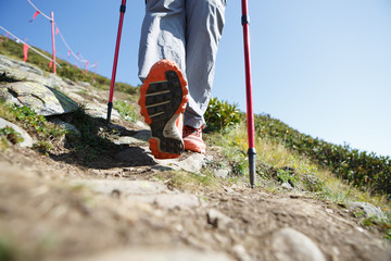 Photo of man with sticks for sport walk in mountains