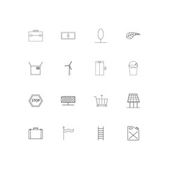 Industry simple linear icons set. Outlined vector icons