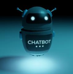 Futuristic digital chatbot 3D rendering