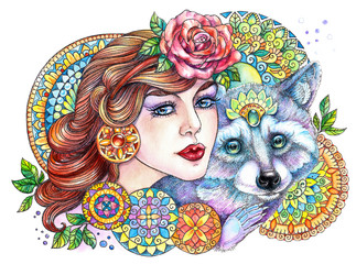 Beautiful woman with a raccoon on a background of mandalas and f