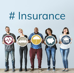 Diverse people with insurance protection plan
