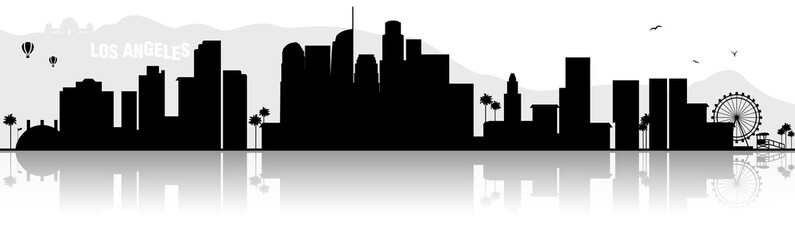 Los Angeles Hollywood Chicago Kalifornien Skyline Silhouette schwarz