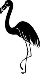 Black silhouette of flamingo on white background