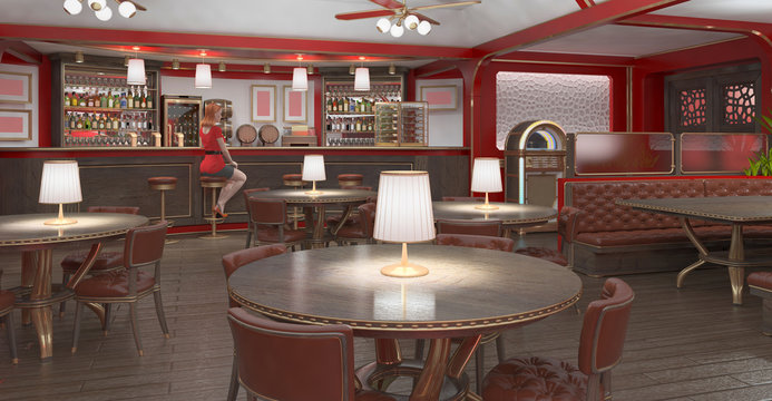 Red-haired girl in red sits on a bar stool in a restaurant. 3d illustration