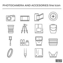 Photo camera and accessories icons.