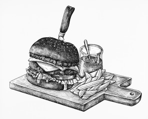 Hand-drawn burger isolated on white background