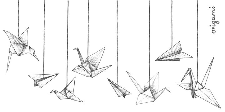 Origami - decoration - 8 gray paper figures