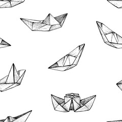 Origami - seamless pattern with black paper ships