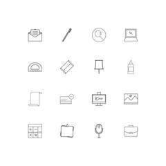 Office simple linear icons set. Outlined vector icons