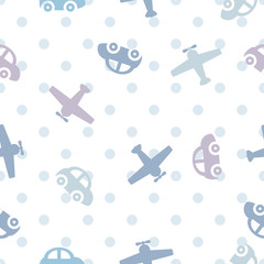 vector seamless color children's pattern cars and airplanes