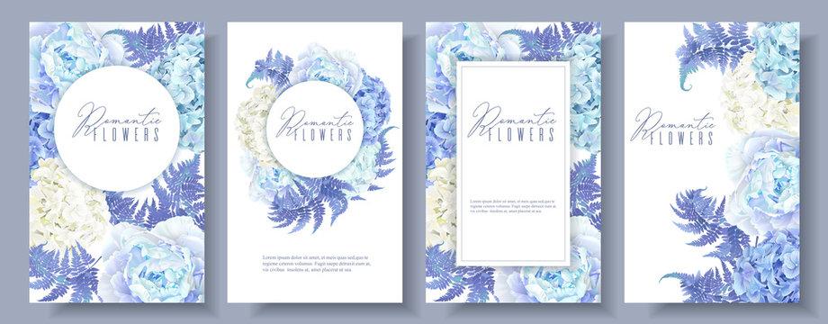 Floral blue banners set
