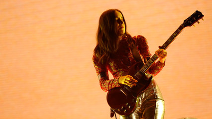 Danielle Haim of Haim performs at the Coachella Valley Music and Arts Festival in Indio