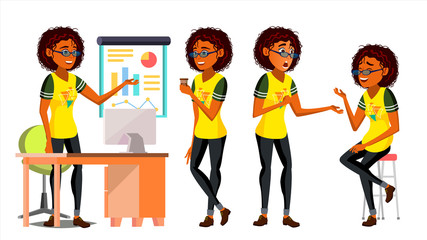 Business African Black Woman Character Vector. American Woman Various Views. Working. Environment Process. Businesswoman Saudi Lady In Various Poses. Creative Studio. Cartoon Illustration