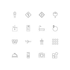 Travel simple linear icons set. Outlined vector icons