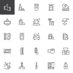 Hygiene elements outline icons set. linear style symbols collection, line signs pack. vector graphics. Set includes icons as Towel, Toothbrush and toothpaste, Electric razor, Soap, Dental floss
