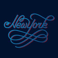 New York. Hand written city name.