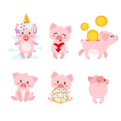 set of cute pink pig