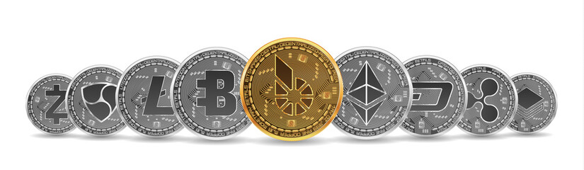 Set of gold and silver crypto currencies with golden bitshares in front of other crypto currencies as leader isolated on white background. Vector illustration. Use for logos, print products