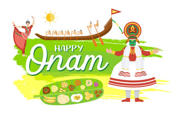 Happy Onam holiday banner, Vector Illustration