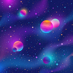 Space background with colorful stars and planets . Vector illustration.