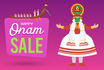 Happy Onam holiday sale banner, Vector Illustration