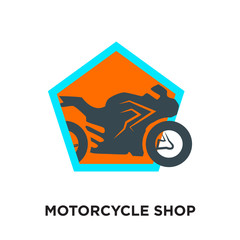 motorcycle shop logo isolated on white background for your web, mobile and app design