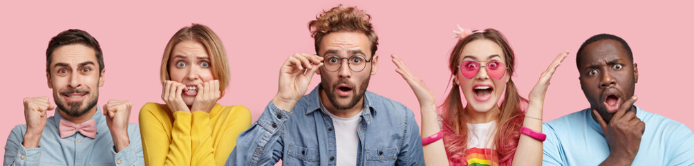 Handsome hipster guy in stupor, nervous blonde woman, bearded male clenches fists, overjoyed pinup woman, surpsied dark skinned male, isolated over pink background. People and emotions concept