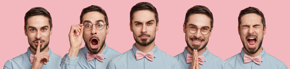Set of handsome bearded young male in formal clothing isolated over pink studio background, demonstartes hush sign, being surprised, serious and annoyed, pleads about something with happy look
