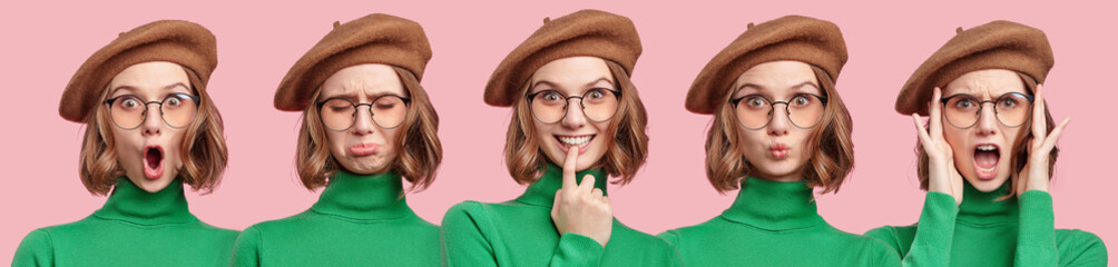 Set of beautiful woman`s portraits with different emotions and facial expressions. Attractive young female student in beret, green sweater and round eyewear changes her mood during photo session