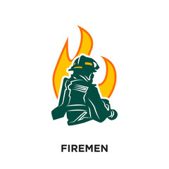 firemen logo isolated on white background for your web, mobile and app design