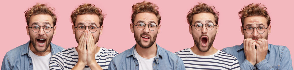 Horizontal collage photo of handsome bearded male in round spectacles expresses surprisment, hesitation, happiness and frustration, demonstrates human emotions, isolated over pink background