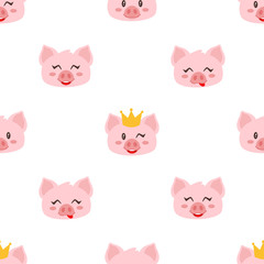 seamless pattern with pink pig