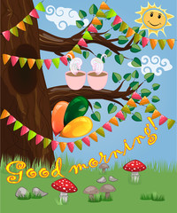 Landscape with a tree and a couple of cups of coffee decorated with garlands, balloons, postcard, cartoon children's style, spring. Inscription Good morning