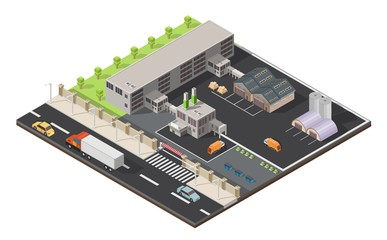 Isometric low poly waste processing plant