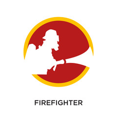 logo firefighter isolated on white background for your web, mobile and app design