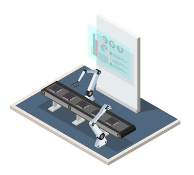 Isometric low poly digital factory assembly processors with augmented reality illustration