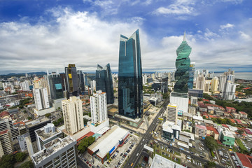 Fotomurales - Aerial view of the modern skyline of Panama City , Panama