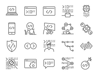 Developer icon set. Included the icons as code, programmer coding, mobile app, api, node connect, flow, logic, web coder, bug fix and more