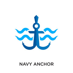 navy anchor logo isolated on white background for your web, mobile and app design