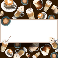 Brown rectangular background with cups of coffee.
