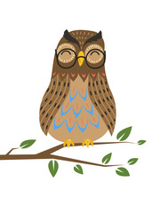 Smart owl on tree branch on white background. Vector illustration.