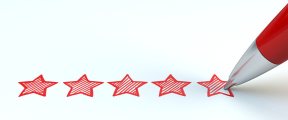 Positive feedback concept. Red pen draw five stars. 3d illustration